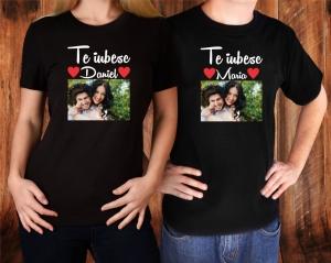 Set Tricouri Cuplu Personalizate - Te iubesc cu Nume si Poza1