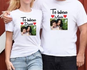 Set Tricouri Cuplu Personalizate - Te iubesc cu Nume si Poza0