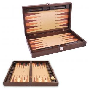 Joc table/backgammon din lemn Premium Gold 52 x 60 cm