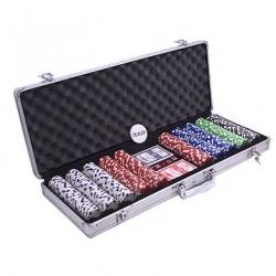 Set poker cu 500 chips-uri si servieta din aluminiu0