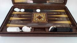 Joc table/backgammon - Star Leather - Mare - 48x60 cm0
