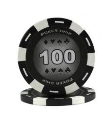 Jeton Poker Chip 11.5g - Culoare Negru - inscriptionat (100)