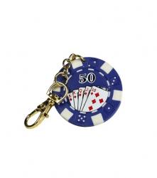 Breloc jeton poker - albastru 50