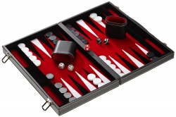 Set joc table/Backgammon in stil Casino - Compact- 38x47 cm - Rosu0