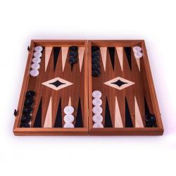 Set joc table/backgammon cu tabla de sah la exterior– lemn de mahon inlaid – 47,5 x 50 cm2