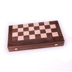 Set joc table/backgammon cu tabla de sah la exterior– lemn de nuc si stejar inlaid – 47,5 x 50 cm0