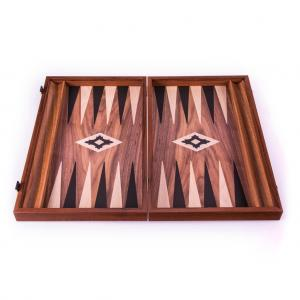 Set joc table/backgammon lemn cu aspect de nuc – 47,5 x 60 cm2