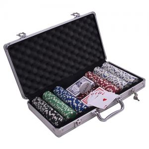 Set poker cu 300 chips-uri si servieta din aluminiu0