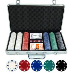 Set poker cu 300 chips-uri tip SUIT si servieta din aluminiu - OUTLET