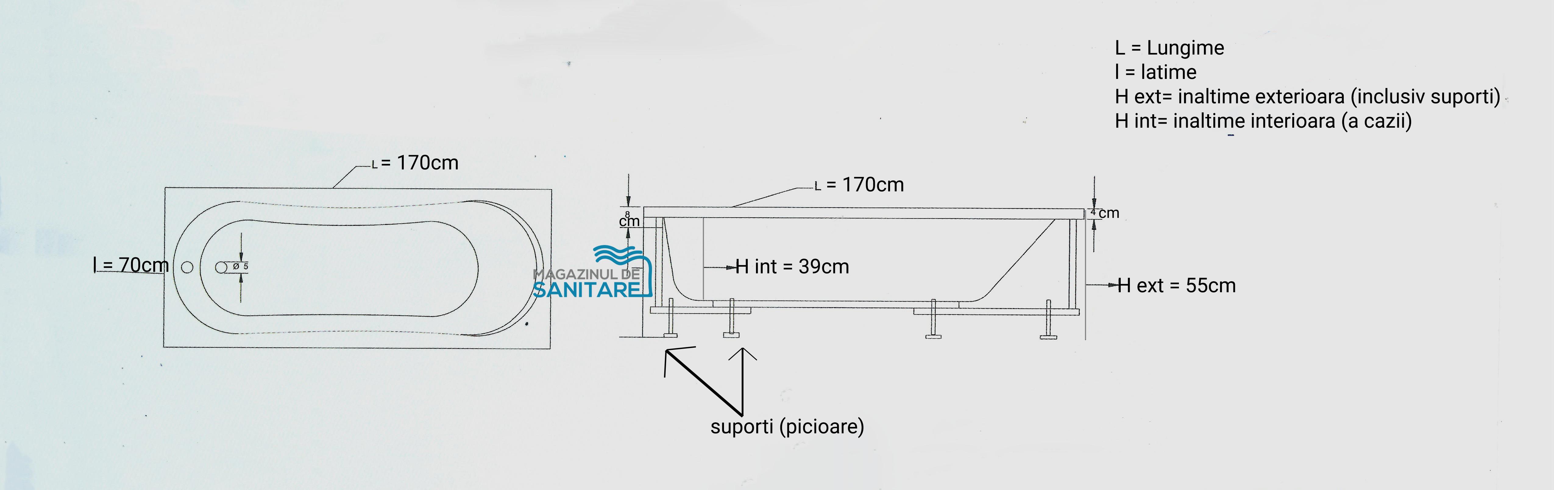 schita tehnica cada 170 70 cm URANUS