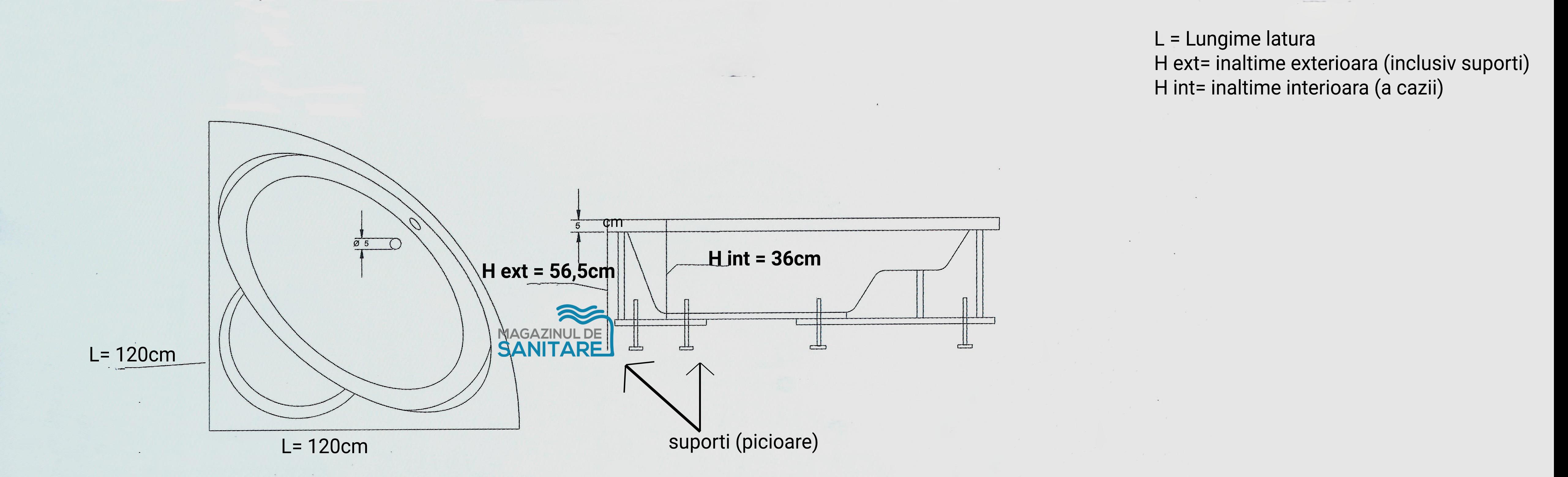 schita tehnica cada 120 120 cm GEMINI