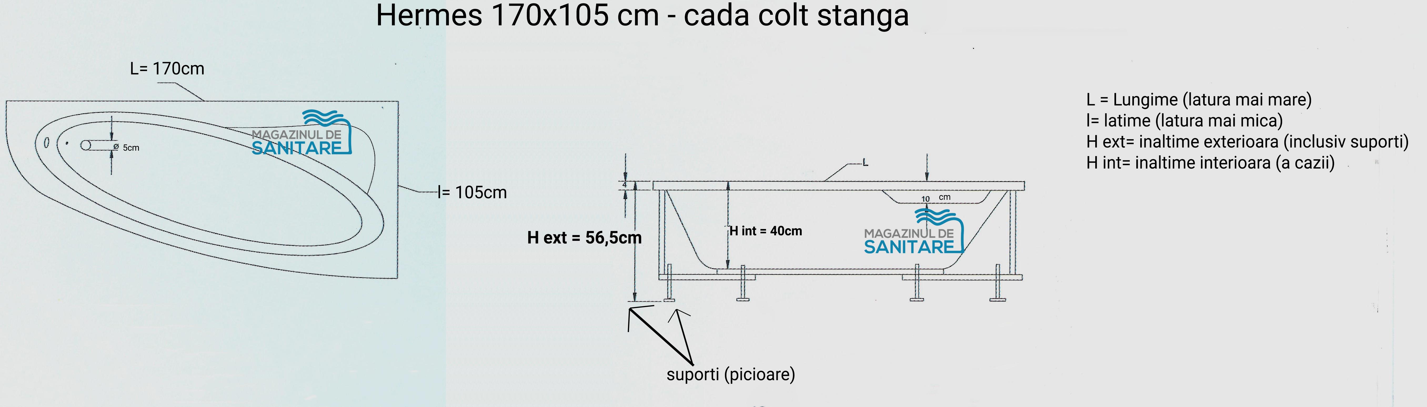 schita tehnica cada 170 105 cm HERMES