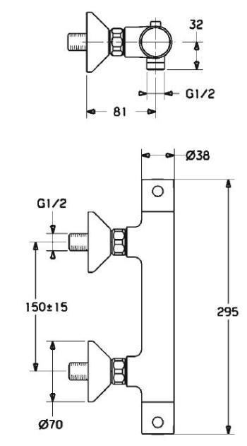 Baterie dus cu termostat Unita1
