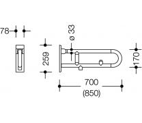 Bara rabatabila vertical sprijin lateral cu buton functie flush1