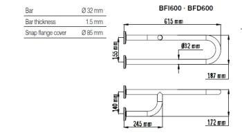 Bara dubla fixa, fixare 3 puncte, otel alb 62 cm BFI6001