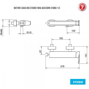 Baterie pentru cada cu montaj pe perete - fara accesorii 31060/1.0 Studio Ferro1