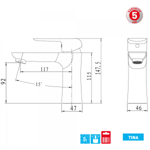 Baterie stativa lavoar, fara ventil Tina 38001/1.0 Ferro1