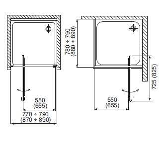 Cabina dus 90x90 cm, usa pivotanta, sticla securizata Elba2