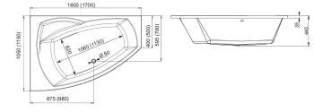 Cada colt asimetrica 170x115 cm Senso 2