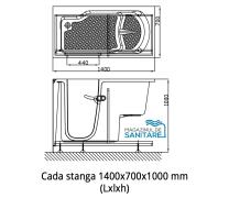 Cada baie dizabilitati stanga 140x70x100 cm1