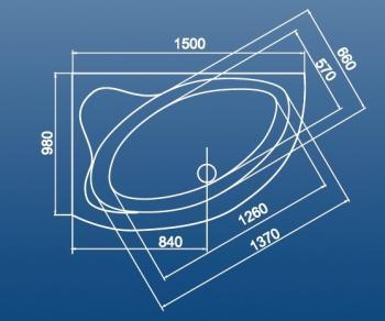 Cada colt asimetrica 150x98 cm Krk1