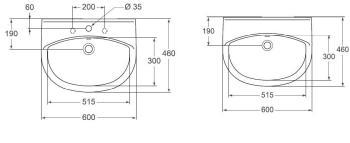 Lavoar suspendat 60x46 cm Style1