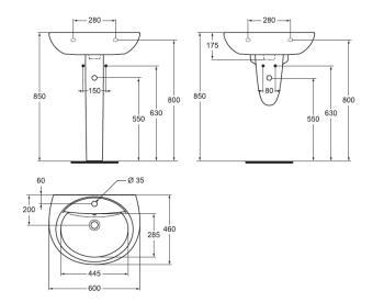 Lavoar suspendat 60x46 cm SevaM1