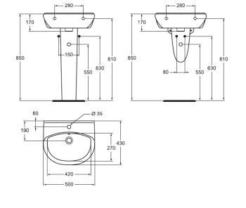 Lavoar suspendat  50x43 cm Style1