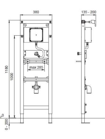 Suport pisoar cu sistem manual de spalare  Wisa Square1