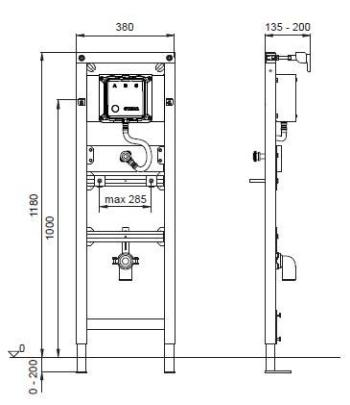 Suport pisoar cu sistem  manual de spalare Wisa XS1