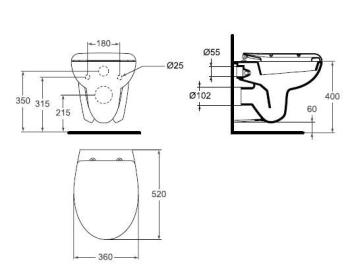 Vas WC suspendat 520 x 360 mm SevaDuo1