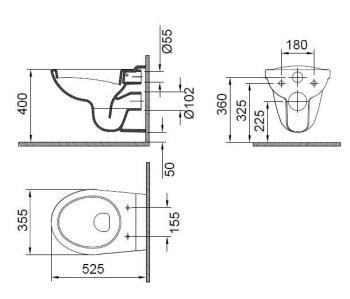Vas WC suspendat 525x355 mm Wisa1