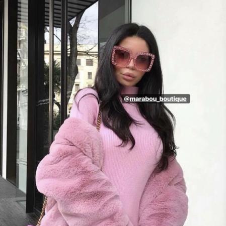 Ochelari de Soare Roz cu Cristale16
