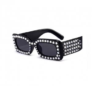 Ochelari de Soare Rectangulari Negri cu Perle0