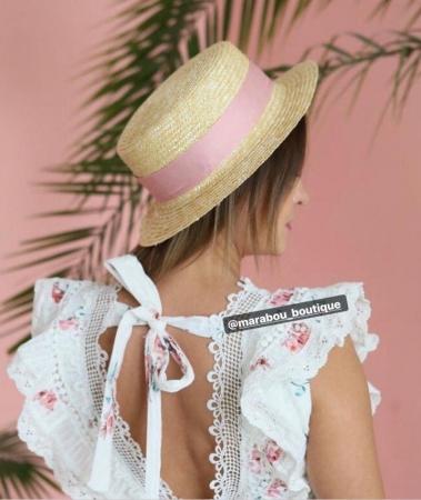 Canotiera Handmade din paie cu funda Roz deschissi albina16