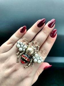 Inel Oversized Reglabil Albina cu perle - Marime Mare13