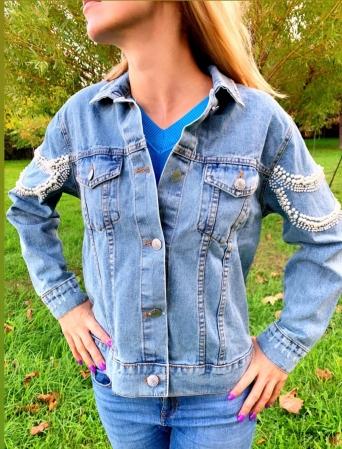 Jacheta Handmade cu aplicatii cu perle pe spate1