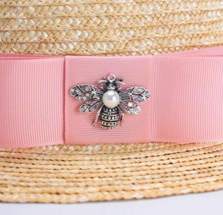 Canotiera Handmade din paie cu funda Roz deschissi albina2