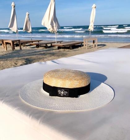 Palarie de Soare Handmade din paie in 2 culoricu funda neagra3