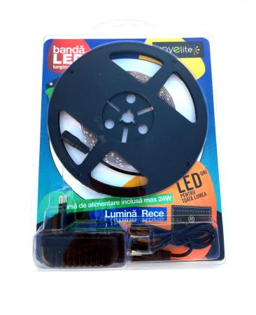 Banda LED cu lumina rece L: 5 m cu alimentator
