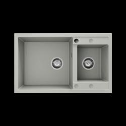Chiuveta cu doua cuve alba 80 cm/49 cm (233)