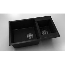 Chiuveta cu doua cuve negru metalic 80 cm/49 cm (233)