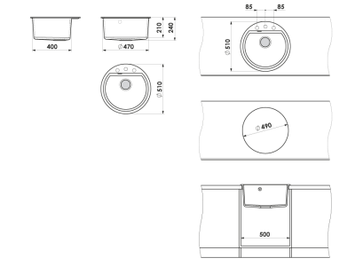 Chiuveta rotunda negru metalic Ø 51 cm (223)