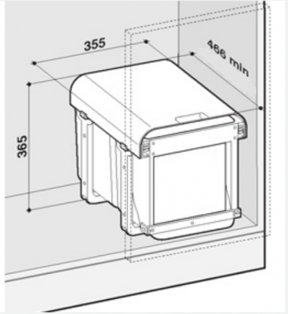 Cos de gunoi incorporabil Ekko Front cu 1 compartiment x 34 litri2