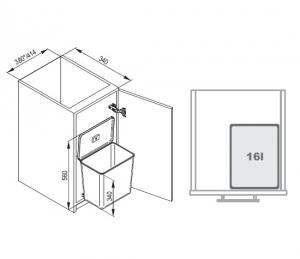 Cos de gunoi incorporabil in dulap, cu 1 compartiment x 16 L, pentru corp de 450 mm latime