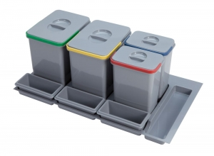 Cos de gunoi incorporabil in sertar, cu 4 recipiente, pentru corp de 900 mm latime