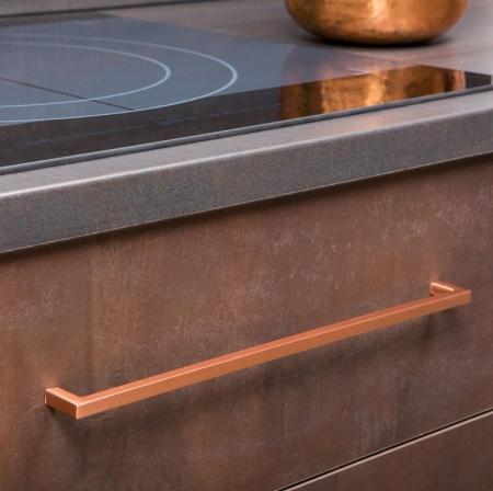 Maner pentru mobilier U cupru periat L:200,5 mm