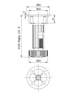 Picior cilindric negru H:120 mm pentru mobilier