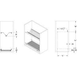 Scurgator din otel inoxidabil pentru vase montabil in dulap de bucatarie cu dimensiune de 600 mm