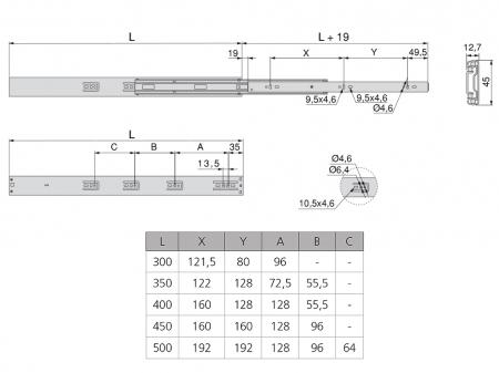 Set 2 glisiere pe bile cu amortizare si extragere totala 350 mm